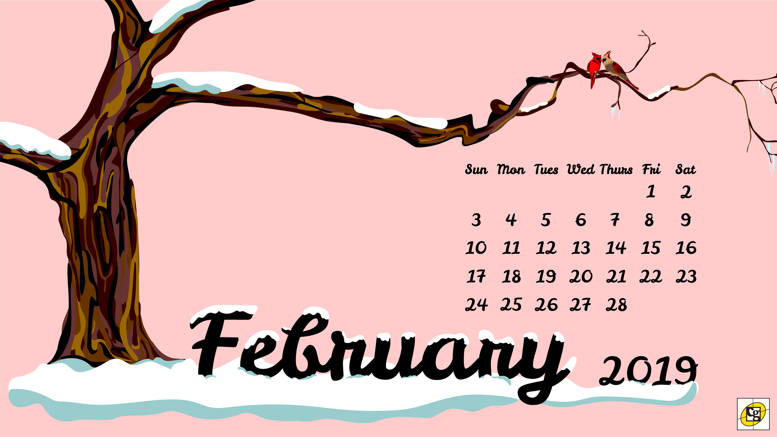 Free Download February 2019 Desktop Calendar Composure Graphics Composure Graphics