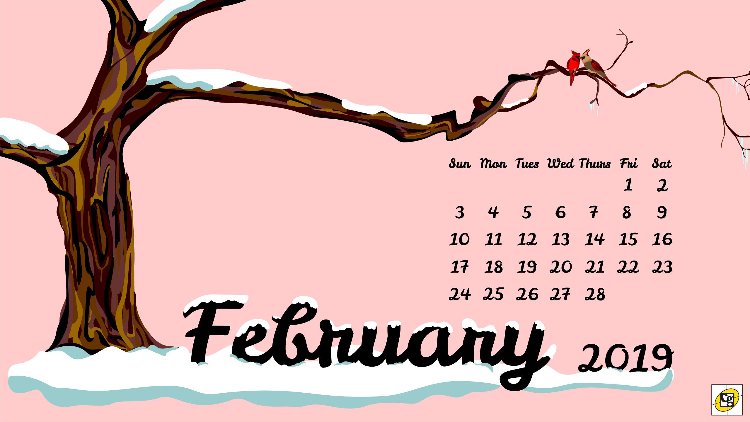 Desktop Calendar February 2019 Free Download: February 2019 Desktop Calendar   Composure Graphics