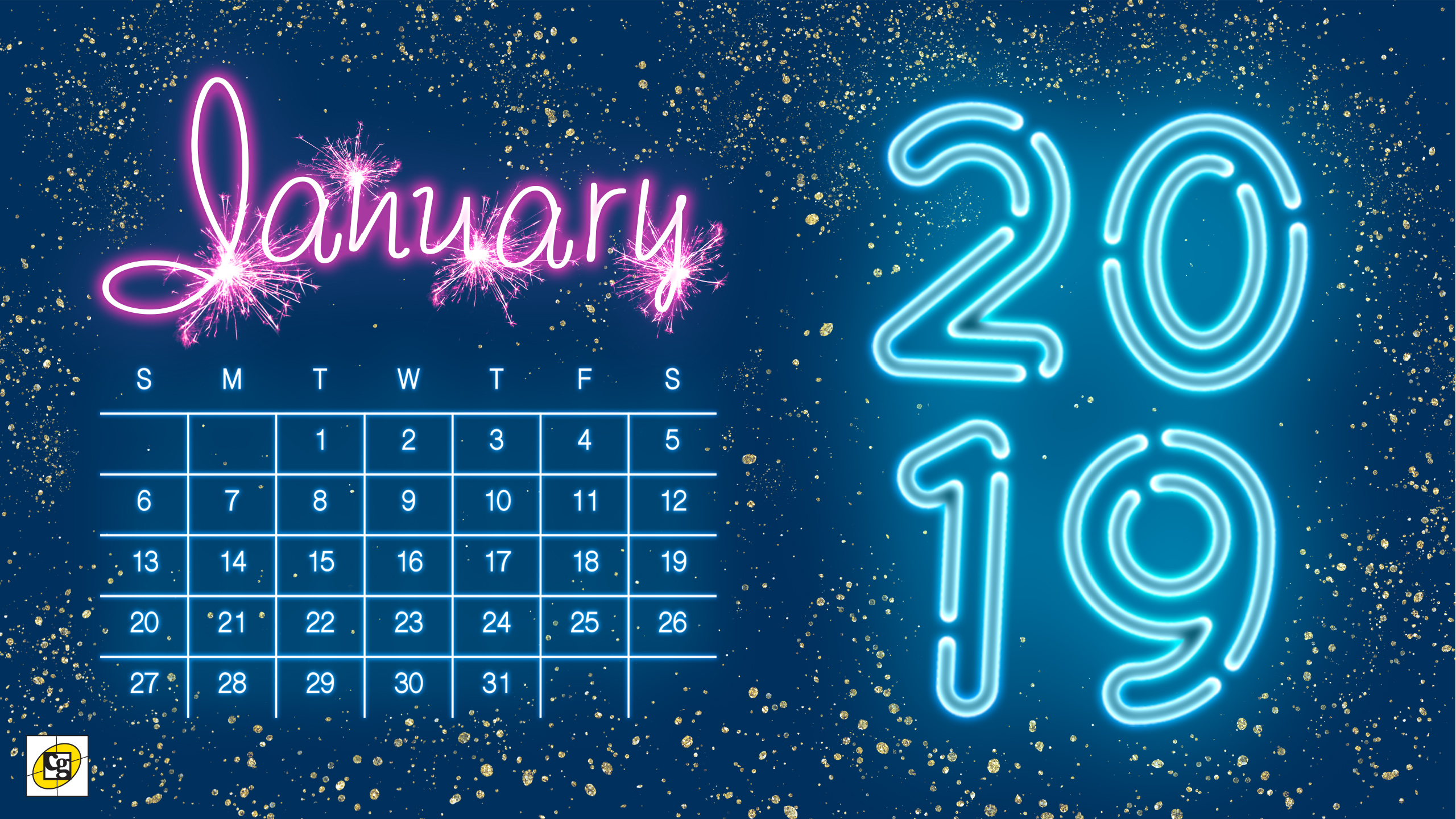 January 2019 Calendar Desktop Free Download: January 2019 Desktop Calendar   Composure Graphics